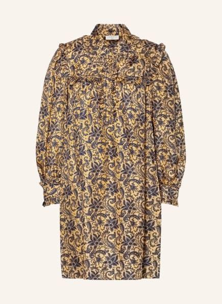 SANDRO Seidenkleid mit Rüschenbesatz, Farbe: GOLD/ BLAU (Bild 1)