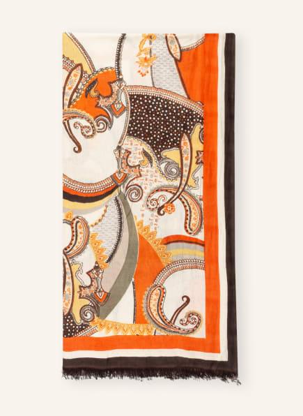 HERZEN'S ANGELEGENHEIT Cashmere-Schal, Farbe: ORANGE/ ECRU (Bild 1)