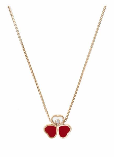 Chopard Halskette HAPPY HEARTS WINGS Halskette aus 18 Karat Roségold, Diamanten und roter Stein, Farbe: ROSÉGOLD (Bild 1)