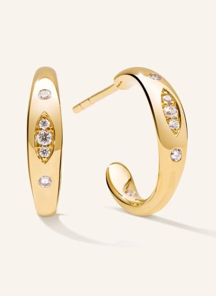 TAMARA COMOLLI Ohrringe GYPSY CREOLE SMALL aus 18 Karat Gelbgold mit Diamant Pavé, Farbe: GOLD (Bild 1)
