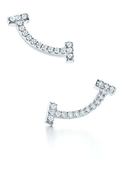 TIFFANY & Co. Ohrringe TIFFANY T SMILE aus 18 Karat Weißgold mit Diamanten, Farbe: WEISSGOLD (Bild 1)