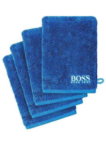 BOSS Waschhandschuh im 4er Set, Farbe: BLAU (Bild 1)