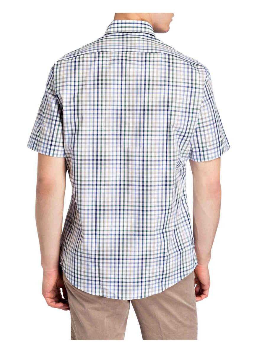 Halbarm-hemd Tailored Fit Von Maerz Muenchen Grün/ Blau/ Weiss Black Friday