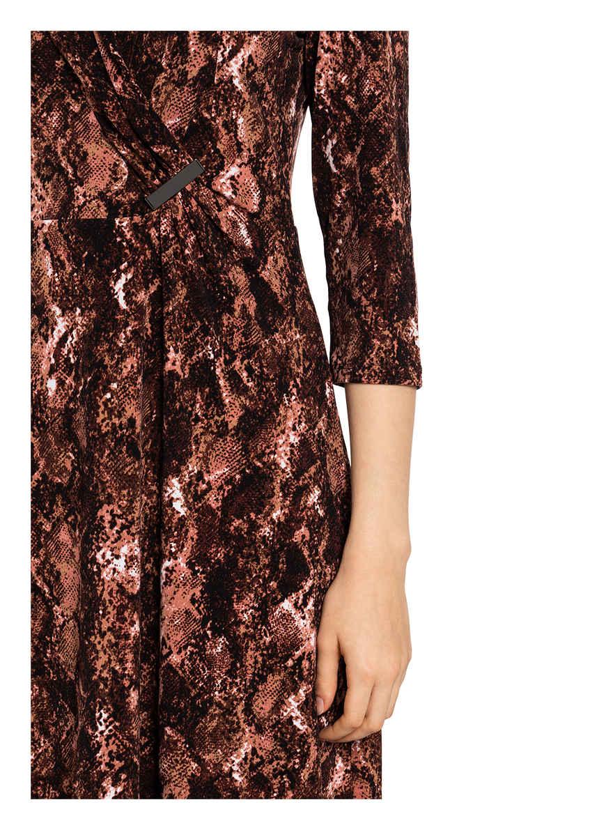 Kleid Mit 3/4-arm Von S.oliver Black Label Dunkelbraun/ Braun/ Lachs