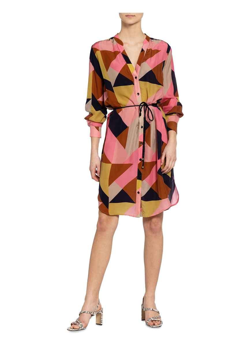 Hemdblusenkleid Von Summum Woman Rosa/ Dunkelblau/ Braun